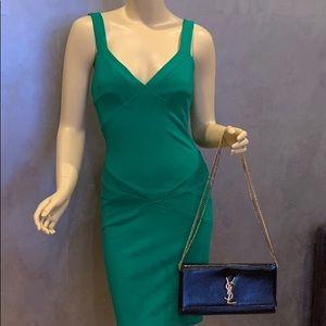 Hunter green, Diana Von Furstenberg dress.